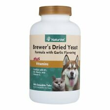 NaturVet BREWERS DRIED YEAST Garlic Flavor Plus Vitamins   Dogs and Cats 500 tab