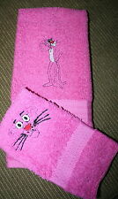 """Pink Panther"" Inspired 1 Pink Bath towel & 1 cloth w/black thread embroidery"