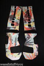 Nike Air Elite Socks Brooklyn HOH Custom Lebron X Infrared Volt Men's Lg New