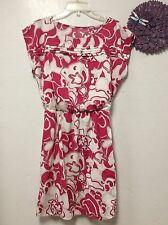 Ladies dress SUNNY LEIGH size small pink white batwing fully lined new 149