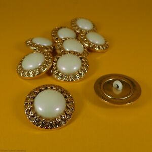 Gold Mount / Pearl Center Plastic - Shank Buttons (9 per bag) (25mm x 6mm)