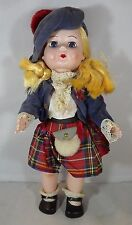"VINTAGE 1950s 11"" HARD PLASTIC ROSEBUD GIRL DOLL BLONDE ORIGINAL SCOTTISH OUTFIT"