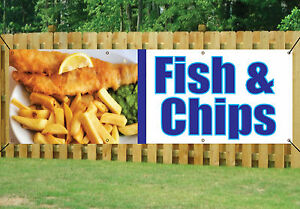 FISH AND CHIPS BANNER OUTDOOR SIGN waterproof PVC with Eyelets v1