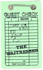 The Waitresses Original 1982 Wasn't Tomorrow Wonderful? Tour 'Guest Check' Pin