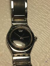 SWATCH IRONY WOMEN'S STAINLESS STEEL AND BLACK WATCH