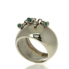 New 14k White Gold Turquoise Kinetic Ring Size 6