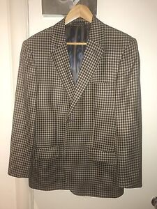 Enrico Bossi Jacket Holland & Sherry Check Silk & Wool 40R-42R Made in Australia