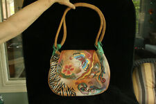 GENTLY USED ANUSCHKA HAND PAINTED BUTTERFLIES ARTIST SIGNED LEATHER PURSE