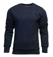Superdry Mens New Orange Label Crew Neck Sweatshirt Pullover Long Sleeve Navy