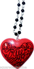 60078 True Love Red Heart Beaded Adjustable Necklace Sourpuss Tattoo Retro Punk