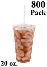 800 Pack 20 oz. Disposable Clear PET Plastic Cups w/ Flat Lids and Clear Straws