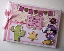 Personalizado Disney Vaquera Minnie Mouse cumpleaños del libro de visitas-Cualquier Diseño
