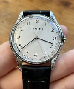 Rare Vintage Men's 1940's ZENITH Military/Sector Dial! Cal-106 P-50. 35.30mm
