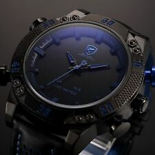 SHARK Black Steel LED Day Date Analog Blue Dial Men's Sport Leather Quartz Watch