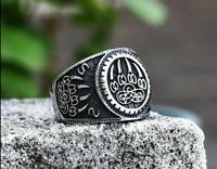 Viking Wolf Paw Ring Nordic Norse Viking Odin Geometric 316L Titanium Steel  New