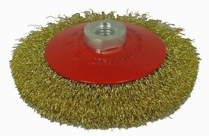"""ABRACS BEVELLED (CONIC) BRUSH 100MM 4 1/2"""" M14 x 2mm CRIMPED BRASS COATED STEEL"""