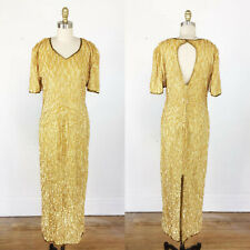 1980s gown gold sequin gown sequin maxi dress Medium - Large