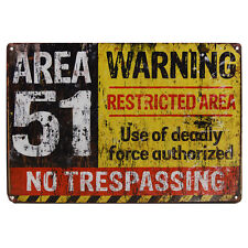 Area 51 Metal Tin Sign Warning UFO Gift Novelty Office Bar Man Cave Poster Alien
