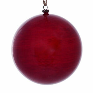 "Vickerman 4.75"" Red Wood Grain Ball Orn 4/Bag"