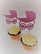 12 x Pink Pram Glitter Cupcake Toppers - Baby Shower Decorations, Handcrafted