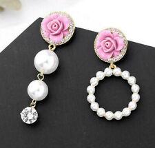 Fashion Betsey Johnson Rare Alloy Rhinestone Pink flower pear drop Earring Jewel