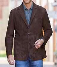 Mens Reddish Brown Suede Leather Blazer Two Button Coat