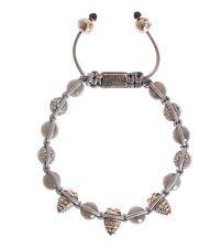 NWT $550 NIALAYA Authentic Women's CZ Cone Labrodite 925 Silver Bracelet s. M