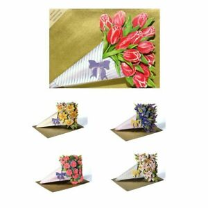 30 3D Decoupage Die-cut Bouquet Greetings Cards with 8 Greetings (EW)