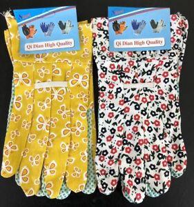 2 Pairs Floral Flower Gardening Garden gloves Anti Slip Dotted Grip Adult  #5953