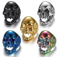 Mens Rings Viking Skull Gothic Rock Punk Vintage 316L Stainless Steel Rings
