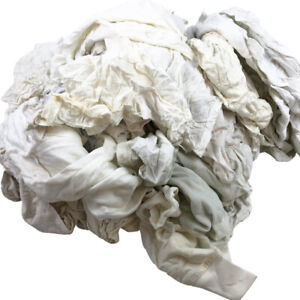 White Knit Wiping Rags Recycled Tshirts Garments 25lb Box Cotton Cleaning Towel