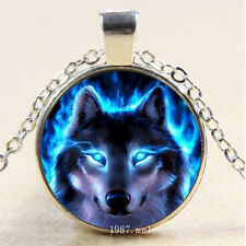 New Cabochon Glass Silver/Bronze/Black Pendant Necklace(blue eyes wolf)