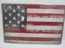 "PLAQUE TOLE 20 x 30 cm DECORATION ""DRAPEAU USA"" Neuf Emballage d'origine"