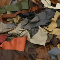 Upholstery Scrap Large Cowhide Leather 1 Pound Remnants 3-4 oz Color Mix Crafts