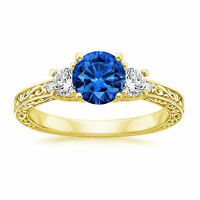 1.83 Ct Natural Diamond Blue Sapphire Ring Solid 14K Yellow Gold Valentine Day