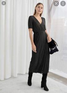 & Other Stories Black Pleated Midi Dress BNWT UK 12-14 Metallic