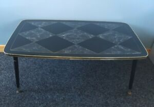 Vintage Retro Mid Century Atomic Glass Top Coffee Table Dansette Legs 50s 60s
