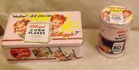 Set di 2 scatole in metallo Kellogg's replica anni 50 vintage portagioie