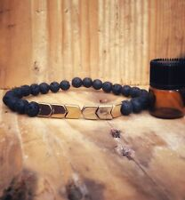Diffuser Aromatherapy Bracelet Lavastone Gold  Hematite Arrows With Relaxing Oil