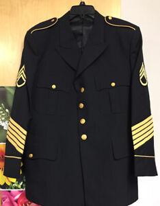 US Army Issue Enlisted ASU Dress Blue Service Uniform Jacket Coat Black Sz 46S