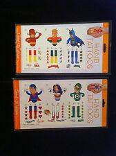 NEW DC JUSTICE LEAGUE 70s RETRO 6 HAND TATTOOS BATMAN SUPERMAN WONDER WOMAN+