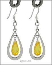 925 Silver Pear Drop Dangle Earring w/CZ Yellow #65268