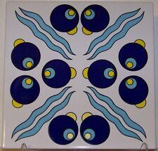 "CLEARANCE Blue & Yellow Cintemani 8""x8"" (20cmx20cm) Turkish Iznik Ceramic Tile"