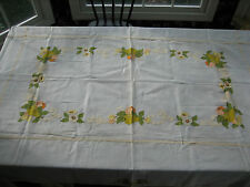 Vintage Hand Made Sheer Panel Long Table Cloth Fruit Flowers Applique