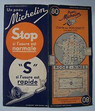 carte MICHELIN 80 RODEZ- NIMES 1937 (modèle stop usure)