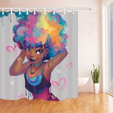 Afro African Woman Heart Kiss Bathroom Shower Curtain Waterproof Fabric 12 Hooks