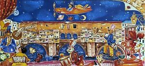 Francesco Sammicheli litografia a colori Ponte Vecchio Firenze 50x23 firmata