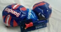 3 sondico size 4 football bundle and PSG dual action football pump