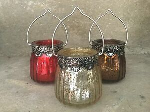 Parlane red pale gold bronze metallic ribbed glass tea light holders with metal