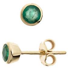 Ohrringe Ohrstecker Stecker mit Smaragd grün 333 Gold Gelbgold schlicht Damen